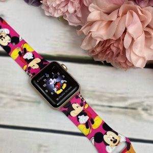 Pink Mickey Mouse Silicone Watchband for Apple